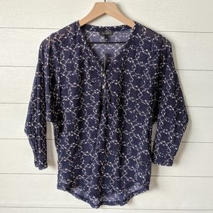 The Limited Navy & White Mesh Blouse S NWT